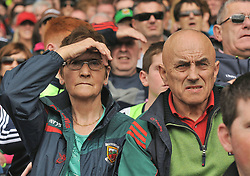 Anxious Mayo supporter watching the action at McHale park for the All Ireland qualifer against Derry.<br /> Pic Conor McKeown