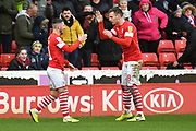 Barnsley forward Conor Chaplin (11) celebrates scoring goal to go 1-0 with Barnsley player Michael Sollbauer (18) during the EFL Sky Bet Championship match between Barnsley and Middlesbrough at Oakwell, Barnsley, England on 22 February 2020.