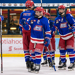 COCHRANE, ON - MAY 1: The Oakville Blades celebrate after the game on May 1, 2019 at Tim Horton Events Centre in Cochrane, Ontario, Canada.<br /> (Photo by Christian Bender / OJHL Images)
