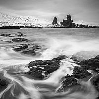 Iceland, Coastal, Water, BW, Landcape, Winter