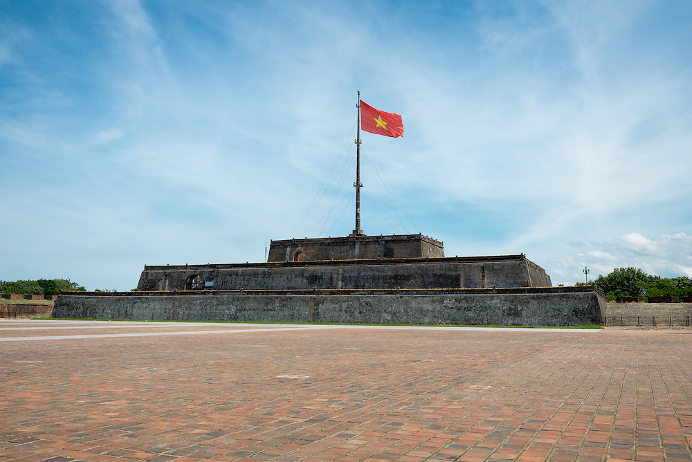 Vietnam flag at the entrance to the Imperial City in Hue