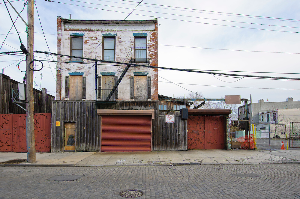 A building made of wood and stones on Conover Street in Red Hook, Brooklyn