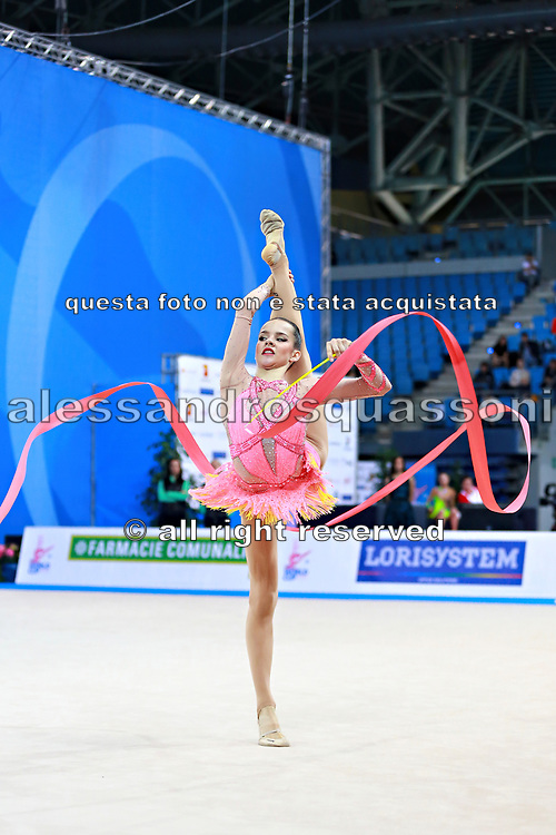 Staykova Sara during qualifying ribbon at the Pesaro World Cup 02 April 2016. Sara is an Bulgarian individual rhythmic gymnast, she was born in 13 November 1993 Plovdiv, Bulgaria.She retired from rhythmic gymnastics in May 2016.