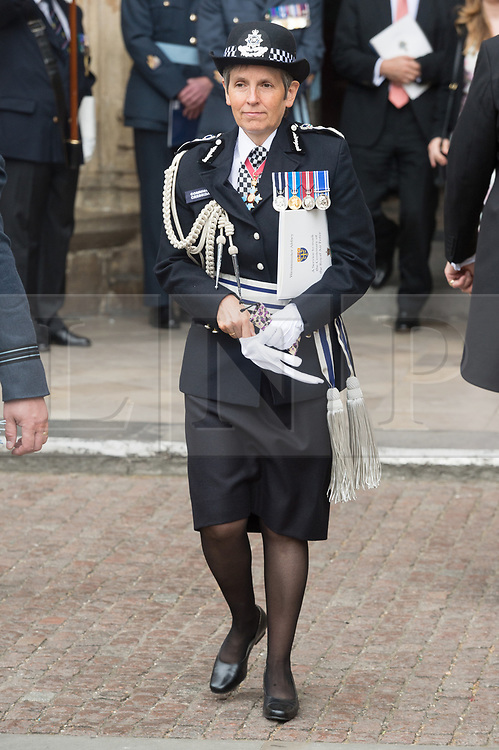 © Licensed to London News Pictures. 10/07/2018. London, UK. Cressisa Dick the Commissioner of the Metropolitan Police Service attends a service at Westminster Abbey to make the100th anniversary of the Royal Air Force at Westminster Abbey. The RAF, the world's first independent air force was founded on 1 April 1918, independent of the British Army and Royal Navy. Photo credit: Ray Tang/LNP
