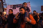 LESVOS, GREECE - NOV 26: Refugees gather in the town of Mytilene to protest the treatment of people in the Moria Detention Centre following the explosion that killed 3 people in the hotspot Thursday night in Lesvos, Greece on November 26, 2016.