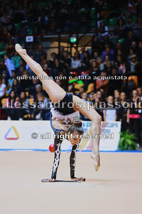Viktoria Mazur atleta della società Virtus di Gallarate durante la seconda prova del Campionato Italiano di Ginnastica Ritmica.<br /> La gara si è svolta a Desio il 31 ottobre 2015.<br /> Viktoria è una ginnasta di origini ucraine nata il 15 ottobre 1994.