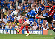 Gareth Evans puts the ball into the box during the Sky Bet League 2 match between Portsmouth and Morecambe at Fratton Park, Portsmouth, England on 22 August 2015. Photo by David Charbit.