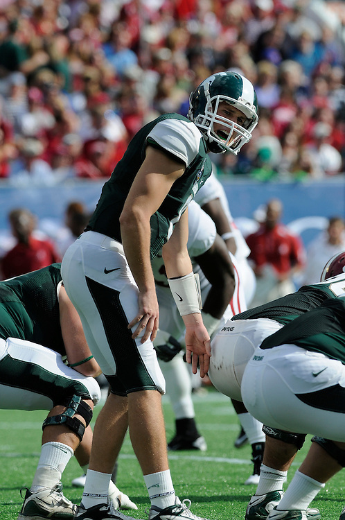 January 1, 2011: Kirk Cousins of the Michigan State Spartans in action during the NCAA football game between MSU and the Alabama Crimson Tide at the 2011 Capital One Bowl in Orlando, Florida. Alabama defeated Michigan State 49-7.