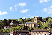 Town of Ironbridge, home to the worlds first cast iron bridge and widely seen an iconic symbol of the industrial revolution, Shropshire, United Kingdom, 2017-08-26.