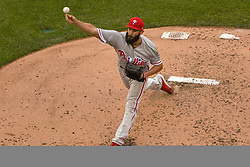 May 6, 2018 - Washington, DC, U.S. - WASHINGTON, DC - MAY 06:  Philadelphia Phillies starting pitcher Jake Arrieta (49) pitches in the fifth inning during the game between the Philadelphia Phillies  and the Washington Nationals on May 6, 2018, at Nationals Park, in Washington D.C.  The Washington Nationals defeated the Philadelphia Phillies, 5-4.  (Photo by Mark Goldman/Icon Sportswire) (Credit Image: © Mark Goldman/Icon SMI via ZUMA Press)
