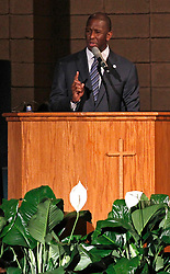 Mayor Andrew Gillum addresses supporters and urges that they keep politically engaged as the Broward County of Supervisor of Elections Office has five days to recount votes cast over an entire month leading up to the midterm election on Tuesday, November 6, 2018. Gillum held a faith-based recount rally inside New Mount Olive Baptist Church in Fort Lauderdale, FL, USA on Sunday, November 11, 2018. Photo by Carl Juste/Miami Herald/TNS/ABACAPRESS.COM