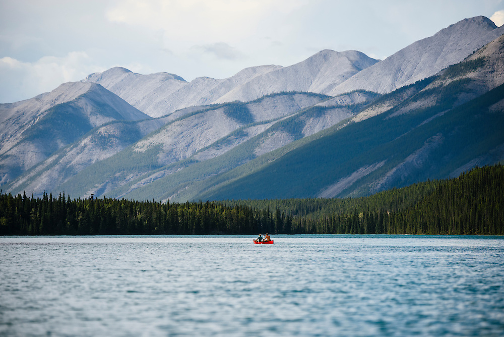 Canoing on Muncho Lake, at the Northern Rockies Lodge, British Columbia