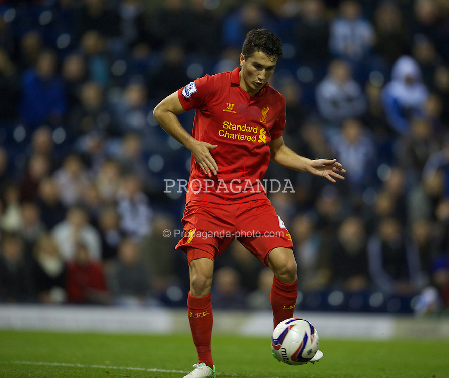 WEST BROMWICH, ENGLAND - Wednesday, September 26, 2012: Liverpool's Nuri Sahin scores the second goal against West Bromwich Albion during the Football League Cup 3rd Round match at the Hawthorns. (Pic by David Rawcliffe/Propaganda)