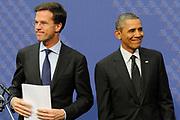 De Amerikaanse president Barack Obama houdt samen met premier Mark Rutte een afsluitende persconferentie over de Nuclear Security Summit 2014 ( NSS )  in het Gemeentemuseum<br /> <br /> <br /> U.S. President Barack Obama holds together with Prime Minister Mark Rutte a closing press conference over the Nuclear Security Summit 2014 ( NSS )  in the Municipal museum of The Hague