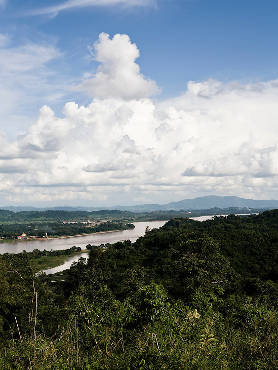 Views of  Laos and the Mekong River from Sunset hill at Anantara Golden Triangle resort.