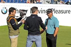 23.06.2015, Golfclub M&uuml;nchen Eichenried, Muenchen, GER, BMW International Golf Open, Show Event, im Bild rechts Retief Goosen (RSA) im Interview // during the Show Event of BMW International Golf Open at the Golfclub M&uuml;nchen Eichenried in Muenchen, Germany on 2015/06/23. EXPA Pictures &copy; 2015, PhotoCredit: EXPA/ Eibner-Pressefoto/ Kolbert<br /> <br /> *****ATTENTION - OUT of GER*****