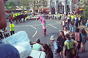 Protester at the first Criminal Justice March,Marble Arch, London, UK,1st of May 1994.