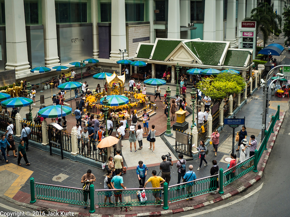 16 AUGUST 2016 - BANGKOK, THAILAND: Business is normal at Erawan Shrine one year after the shrine was bombed in the worst international terrorist attack in Thai history. On 17 August 2015, a bomb was set off at the Erawan Shrine, a popular tourist attraction and important religious shrine in the heart of the Bangkok shopping district. According to the Royal Thai Police  20 people were killed in the bombing and 125 injured. Thai Police arrested an alleged Uighur extremist for the bombing. The case against him is still pending in Thai courts. The shrine was repaired, rededicated and reopened to the public on 4 September 2015.       PHOTO BY JACK KURTZ