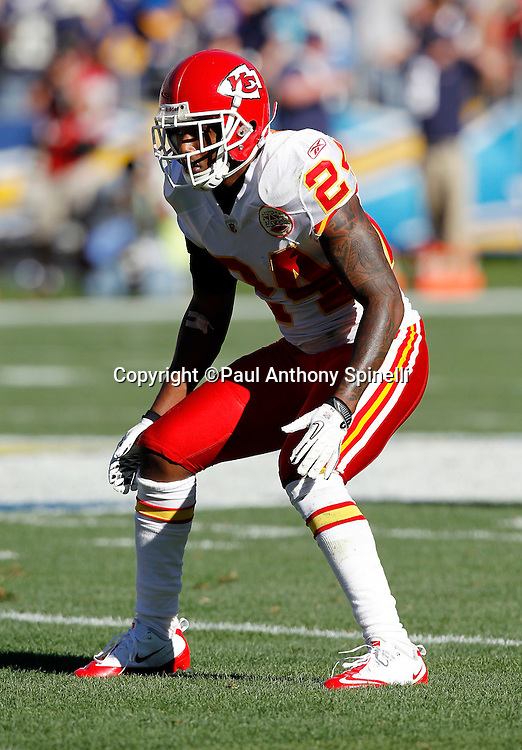 Kansas City Chiefs cornerback Brandon Flowers (24) gets set in pass coverage during the NFL week 14 football game against the San Diego Chargers on Sunday, December 12, 2010 in San Diego, California. The Chargers won the game 31-0. (©Paul Anthony Spinelli)