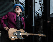 Elvis Costello performs during Bumbershoot at Seattle Center. Photo by John Lill
