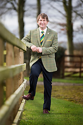 © Licensed to London News Pictures. 01/03/2016. Harrogate UK. The Yorkshire Agriculture Society has unveiled its new limited edition tweed jacket today, it incorporates the society's colours of green & gold and the exclusive design is called the Great Yorkshire Tweed. Just 300 of the jackets seen here being worn by Great Yorkshire Show director Charles Mills have been commissioned & will be on show & available to buy at the 158th Great Yorkshire Show in July.  Photo credit: Andrew McCaren/LNP