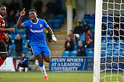 Gillingham FC defender Adedeji Oshilaja (6) celebrates his goal (score 1-0) during the EFL Sky Bet League 1 match between Gillingham and Shrewsbury Town at the MEMS Priestfield Stadium, Gillingham, England on 28 January 2017. Photo by Andy Walter.