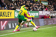 Norwich City defender Jamal Lewis (12) tackle the opponent  during the The FA Cup match between Burnley and Norwich City at Turf Moor, Burnley, England on 25 January 2020.