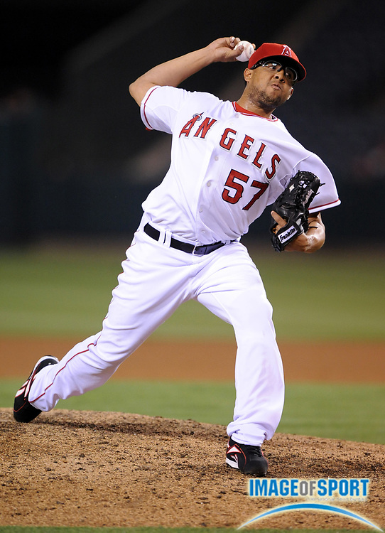 Apr 29, 2007; Anaheim, CA, USA; Los Angeles Angels reliever Francisco Rodriguez (57) pitched a scoreless ninth inning to pick up his seventh save in 2-0 victory over the Oakland Athletics at Angel Stadium. Mandatory Credit: Kirby Lee/Image of Sport-US PRESSWIRE