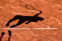 June 8, 2017 - Paris, France - The shadow of JELENA OSTAPENKO of Latvia in action against T. Bacsinszky of Switzerland during their semi-final match at the French Open in Paris. Ostapenko won 7:6, 3:6, 6:3.   (Credit Image: © Antoine Couvercelle/Panoramic via ZUMA Press)