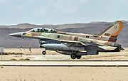 "Israeli Air Force (IAF) General Dynamics F-16I at take off.  Photographed at the  ""Blue-Flag"" 2017, an international aerial training exercise hosted by the Israeli Air Force (IAF) at Ouvda airfield, Israel. November 2017"