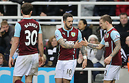 Danny Ings (c) of Burnley is congratulated on scoring their second during the Barclays Premier League match at St. James's Park, Newcastle<br /> Picture by Simon Moore/Focus Images Ltd 07807 671782<br /> 01/01/2015
