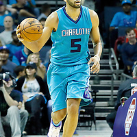 01 November 2015: Charlotte Hornets forward Nicolas Batum (5) brings the ball up court during the Atlanta Hawks 94-92 victory over the Charlotte Hornets, at the Time Warner Cable Arena, in Charlotte, North Carolina, USA.