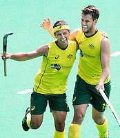 ANTWERP -    Jamie Dwyer of Australia scored 0-2 and celebrates with Matt Gohdes during  the hockeymatch   India vs Australia.  WSP COPYRIGHT KOEN SUYK