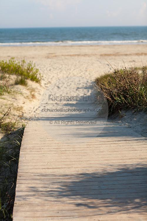Boardwalk pathway to the beach on Sullivan's Island, SC.