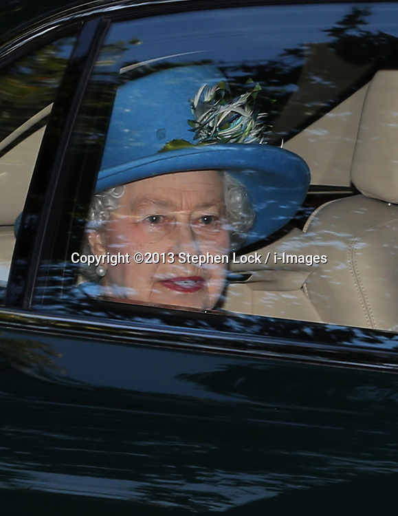 Her Majesty the Queen leaving after Prince George's christening at St.James's Palace in London, United Kingdom,  Wednesday, 23rd October 2013. Picture by Stephen Lock / i-Images