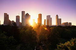Sunrise over Houston skyline from the west.