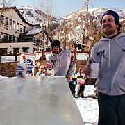 Team Hostel X warms up on the official Gelande Quaff tables prior to the official start of the competition. Chris Reed catching.