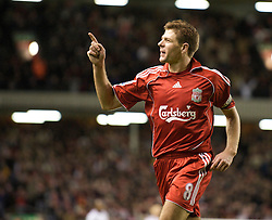 LIVERPOOL, ENGLAND - Wednesday, March 5, 2008: Liverpool's captain Steven Gerrard MBE celebrates scoring Liverpool's fourth goal during the Premiership match against West Ham United at Anfield. (Photo by David Rawcliffe/Propaganda)