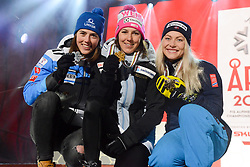 February 8, 2019 - Are, Sweden - PETRA VLHOVA of Slovakia (left, Silver), WENDY HOLDENER of Switzerland (center, Gold) and RAGNHILD MOWINCKEL of Norway (right, Bronce) with their medals from the Ladies Alpine Combined ski race at the FIS Alpine World Ski Championships in Are Sweden. (Credit Image: © Christopher Levy/ZUMA Wire)