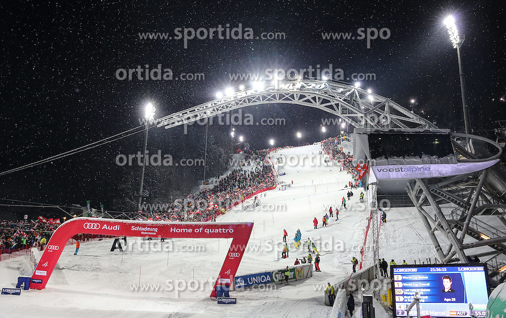 27.01.2015, Planai, Schladming, AUT, FIS Weltcup Ski Alpin, Nightrace, Slalom, Herren, 2. Durchgang, im Bild der Racehill mit voestalpine skygate // racehill and voestalpine skygate during 2nd run of mens slalom of the Schladming FIS Ski Alpine World Cup at the Planai course in Schladming, Austria on 2015/01/27. EXPA Pictures © 2015, PhotoCredit: EXPA/ Martin Huber