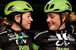 Julia Soek and Floortje Mackaij chat on the presentation stage in Ieper - Women's Gent Wevelgem 2016, a 115km UCI Women's WorldTour road race from Ieper to Wevelgem, on March 27th, 2016 in Flanders, Belgium.