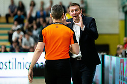 Referee Saso Petek and Simon Petrov, head coach of Krka during basketball match between KK Krka and KK Petrol Olimpija in 22nd Round of ABA League 2018/19, on March 17, 2019, in Arena Leon Stukelj, Novo mesto, Slovenia. Photo by Vid Ponikvar / Sportida