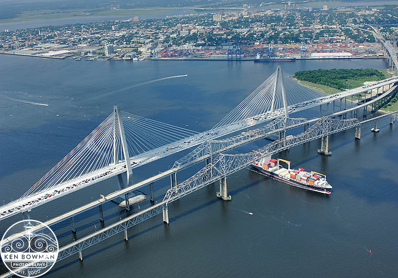 Ravenel Bridge aerial #1 during opening ceremony. July 2005.
