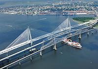 Ravenel Bridge aerial #1 during opening ceremony. July 2005.