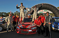 Team Evans Motorsport on the podium at Rally South Australia with the Australian Rally Championship Possum Bourne Memorial Trophy.Heat 2.Rally South Australia.Barossa Valley, South Australia.2nd of August 2009.(C) Joel Strickland Photographics.Use information: This image is intended for Editorial use only (e.g. news or commentary, print or electronic). Any commercial or promotional use requires additional clearance.