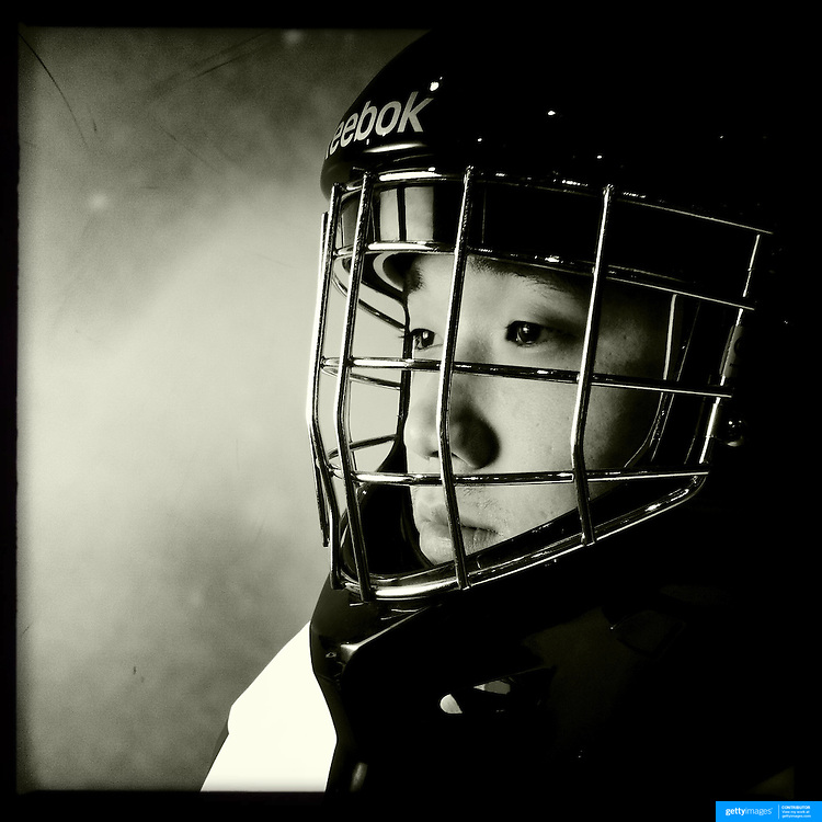 Ice Men Cometh…Li Yao,17, China..An iPhone portrait series on young men competing in the 2012 IIHF Ice Hockey World Championships Division 3. The tournament  was contested by countries New Zealand, Iceland, China, Bulgaria and Turkey at Dunedin Ice Stadium. Dunedin, Otago, New Zealand. 17th January 2012. Photo Tim Clayton