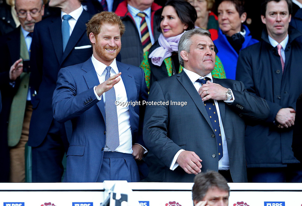 RBS 6 Nations Championship Round 4, Twickenham Stadium, London, England 12/3/2016<br /> England vs Wales<br /> Prince Harry with Jason Leonard<br /> Mandatory Credit &copy;INPHO/Andrew Fosker
