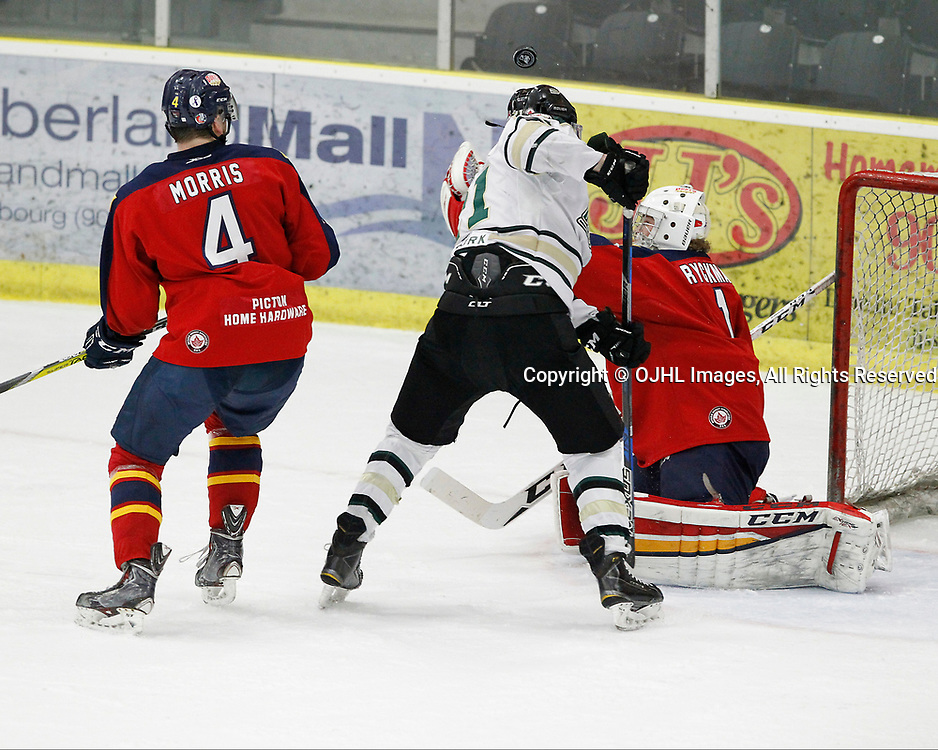COBOURG, ON  - MAR 25,  2017: Ontario Junior Hockey League, playoff game between the Cobourg Cougars and the Wellington Dukes. Matthew Carroll #21 of the Cobourg Cougars tries deflects the shot as goaltender Connor Ryckman #1 follows the play.<br /> (Photo by Tim Bates / OJHL Images)