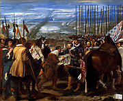 Diego Velázquez (1599–1660)  Spanish painter. The Surrender of Breda, or The Lances.  Oil on canvas, 1635.The Siege of Breda is the name for two major sieges of the Eighty Years' War and Thirty Years' War. The Dutch fortress city of Breda fell to a Spanish army under Ambrosio Spinola in 1625; it was retaken by Frederick Henry of Orange in the 1637 Siege of Breda