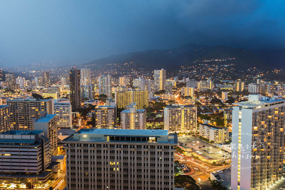 The city of Honolulu, Oahu, Hawaii at night